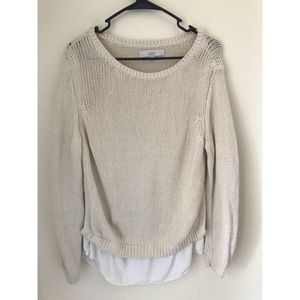 LOFT Cream Sweater with attached Undershirt